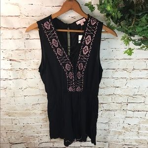 Love Tree Lace Up Embroidered Romper NWT